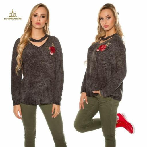 Suéter bordado oversize khaki [1]