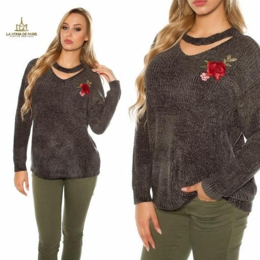 Suéter bordado oversize khaki [3]
