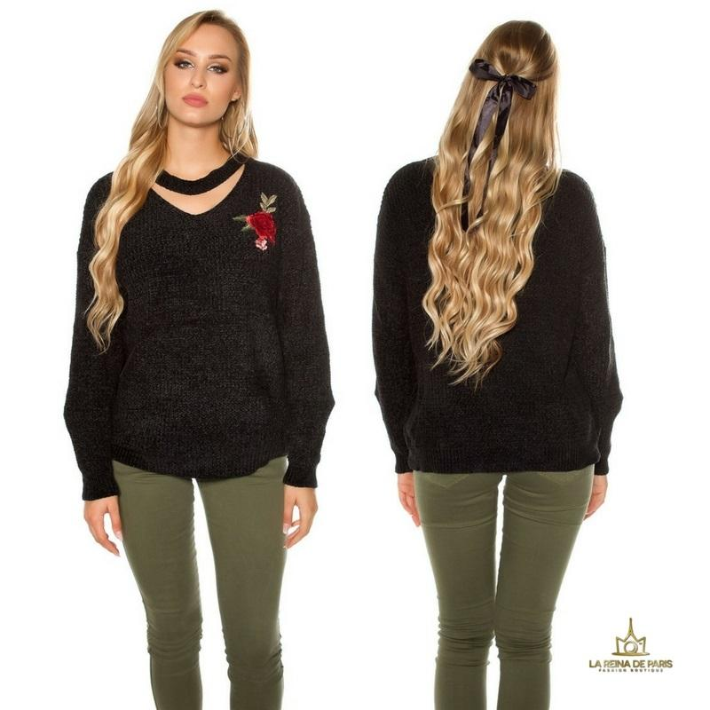Suéter bordado oversize negro