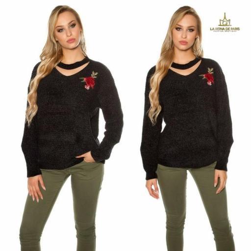 Suéter bordado oversize negro [2]