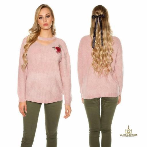 Suéter bordado oversize rosa