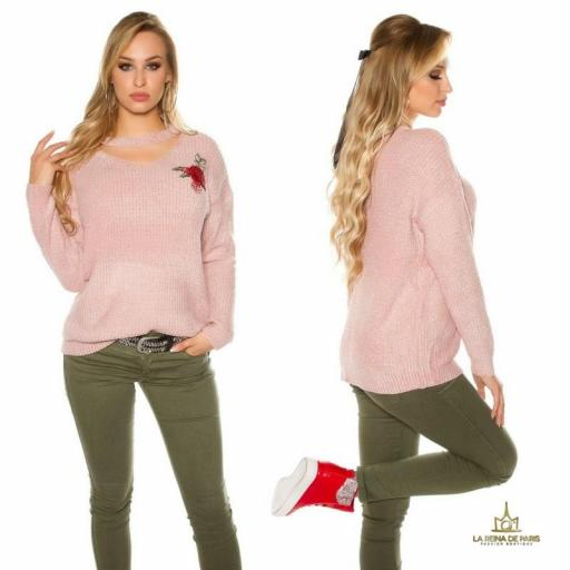 Suéter bordado oversize rosa [1]