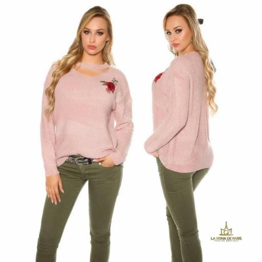 Suéter bordado oversize rosa [2]
