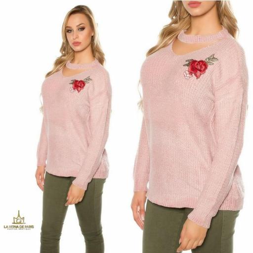 Suéter bordado oversize rosa [3]