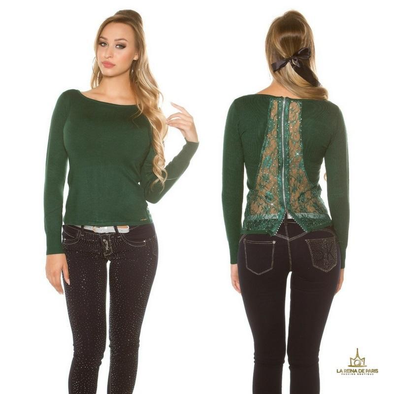 Suéter verde con cremallera y encaje