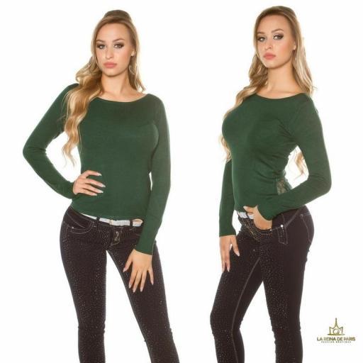 Suéter verde con cremallera y encaje [1]
