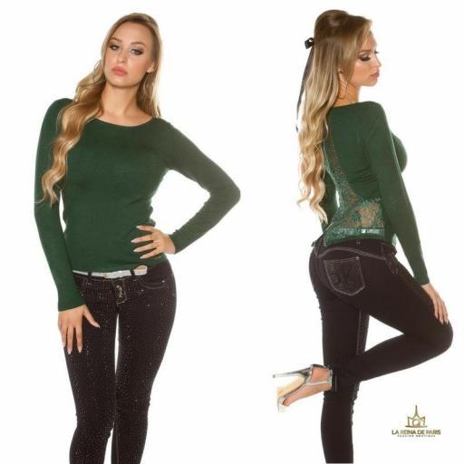 Suéter verde con cremallera y encaje [2]