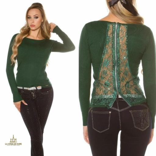 Suéter verde con cremallera y encaje [3]