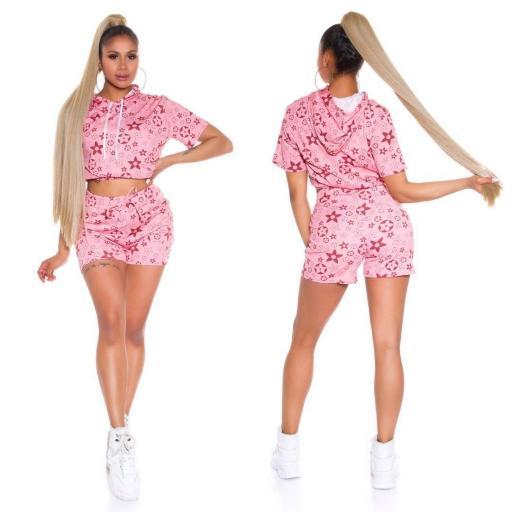 Conjunto verano con capucha rosa [2]