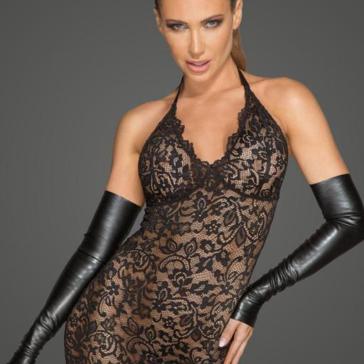 Vestido de encaje con escote bajo