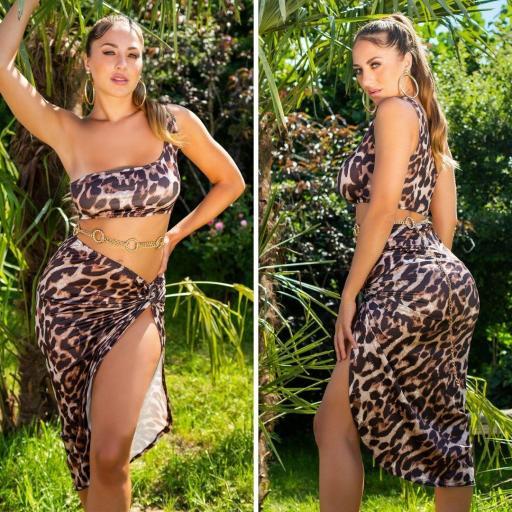 Top corto leopardo print