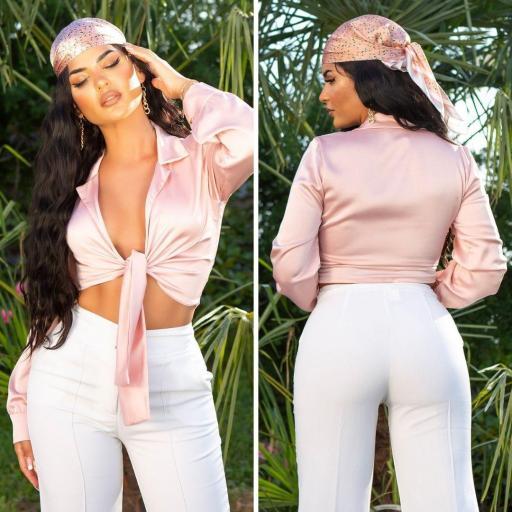 Blusa corta satén rosa