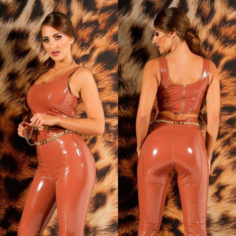 Top crop latex bronce