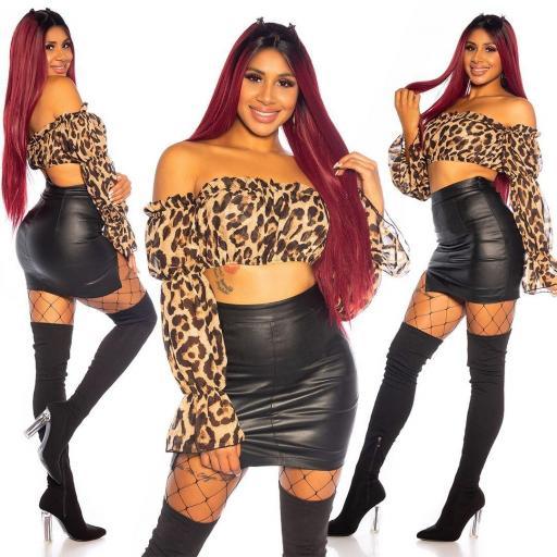 Crop top leopardo manga latina