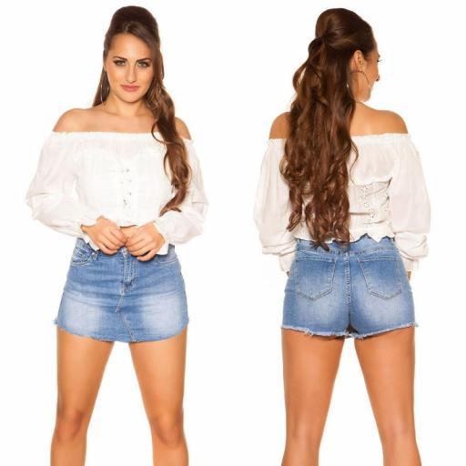 Moda mujer Top off shoulder blanco [2]