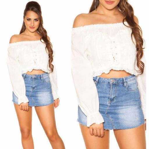 Moda mujer Top off shoulder blanco [3]