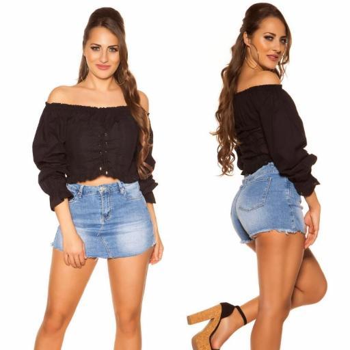 Moda mujer Top off shoulder negro [3]