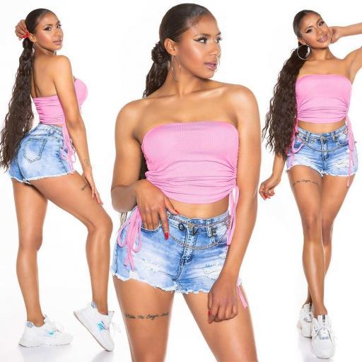 Top corto cordón lateral rosa