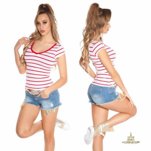Camiseta roja a rayas encaje y lazos  [2]