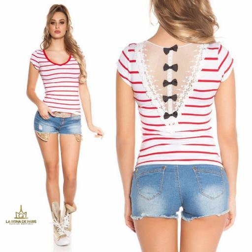 Camiseta roja a rayas encaje y lazos  [3]