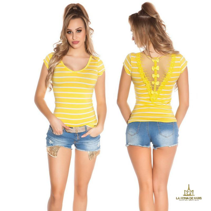 Camiseta amarilla a rayas encaje y lazos