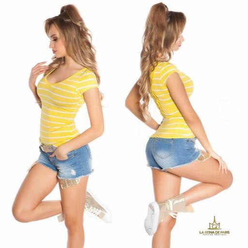 Camiseta amarilla a rayas encaje y lazos  [2]