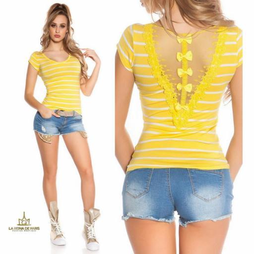 Camiseta amarilla a rayas encaje y lazos  [3]