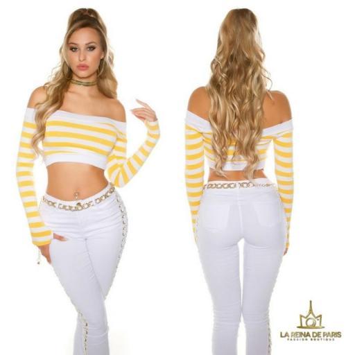 Crop top rayas amarillo