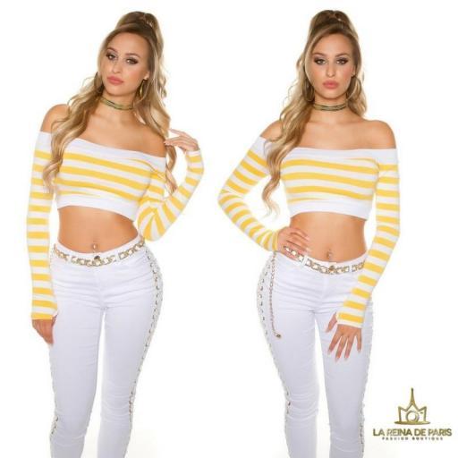 Crop top rayas amarillo [3]