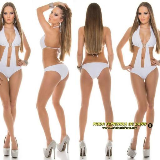 Trikini silver buckle blanco