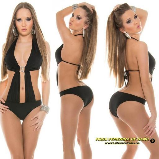 Trikini moda baño color negro buckle  [2]