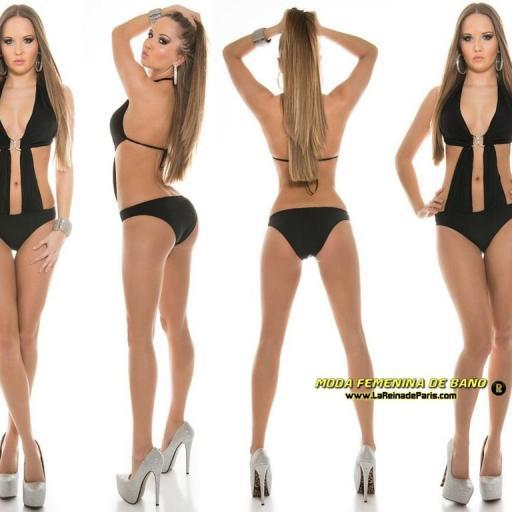Trikini moda baño color negro buckle