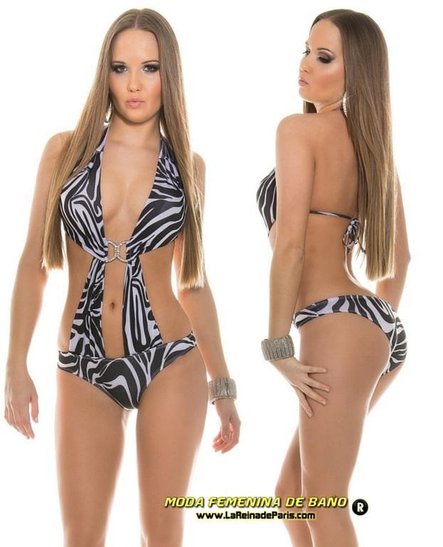 Trikini zebra selvático buckle de moda