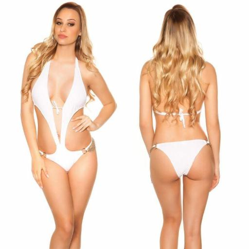 Trikini blanco sensual con cadenas