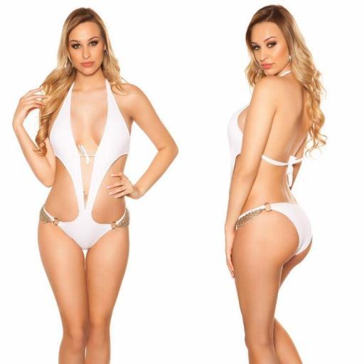 Trikini blanco sensual con cadenas  [2]