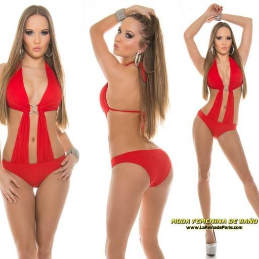 Trikini atractivo rojo buckle brillante [3]