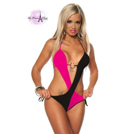 Trikini cruzado rosa negro atractivo