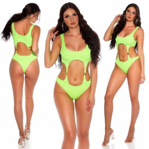 Trikini aberturas sexys verde neón