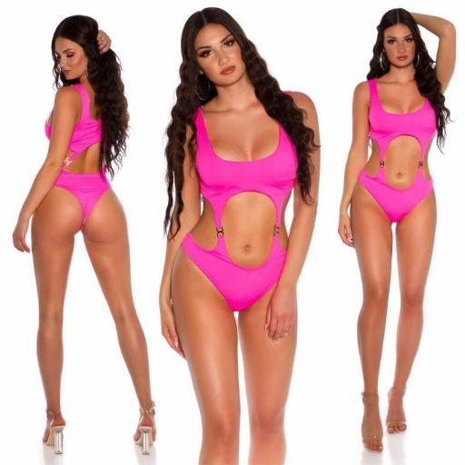 Trikini aberturas sexys rosa neón