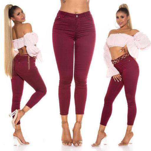 Jeans de moda de color burdeos [3]
