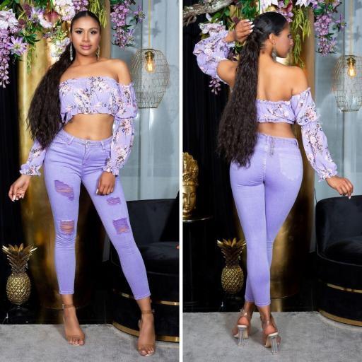 Jeans pitillo púrpura