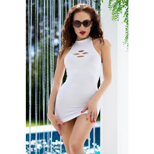 Vestido corto ajustado blanco neón