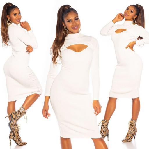 Vestido de punto blanco espectacular