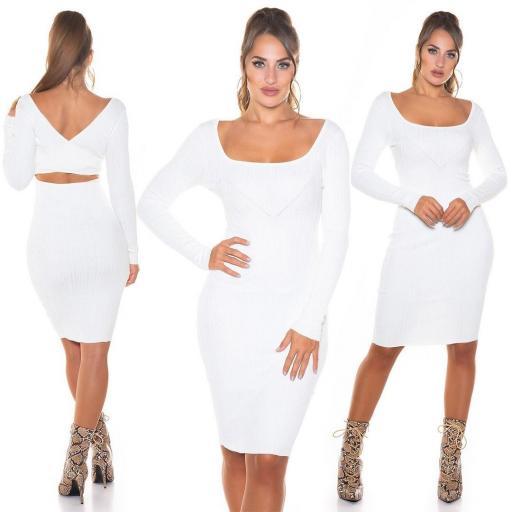 Vestido de punto elegante blanco