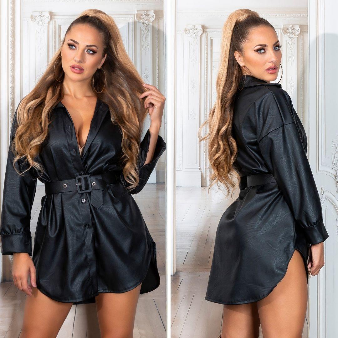 Vestido negro camisero de moda en piel