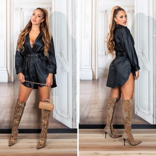 Vestido negro camisero de moda en piel  [2]