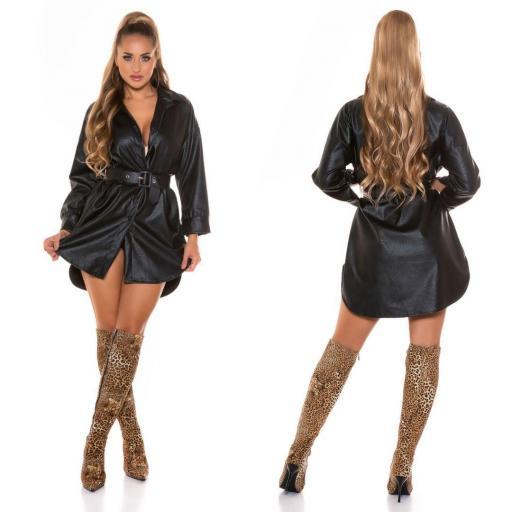 Vestido negro camisero de moda en piel  [3]
