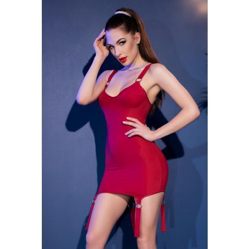 Vestido rojo reluciente con anillas