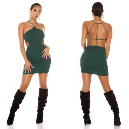 Vestido corto con tirantes verde    [1]