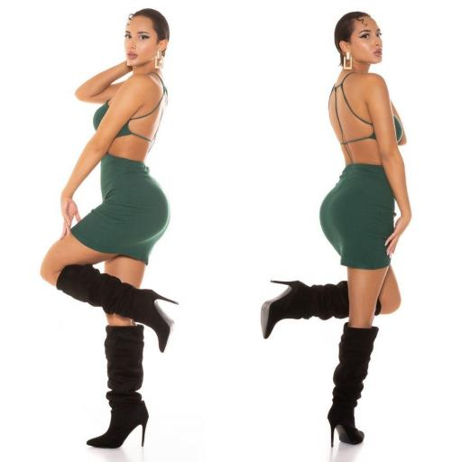 Vestido corto con tirantes verde    [2]